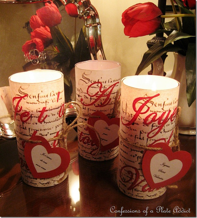 CONFESSIONS OF A PLATE ADDICT French Script Valentine Candles with Free Graphics