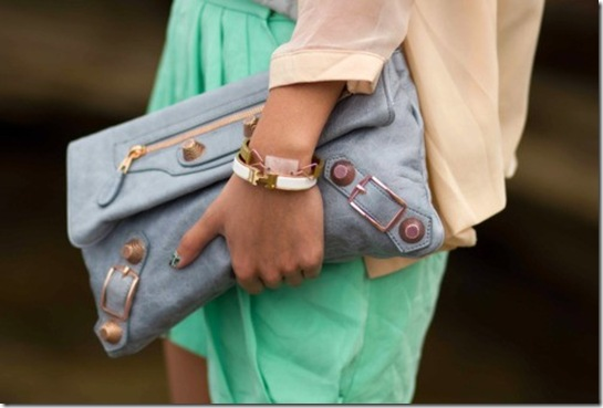 mint-dress-and-pastel-blue-clutch