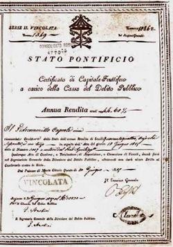 Certificato Rendita Debito Pubblico Stato Pontificio 1829