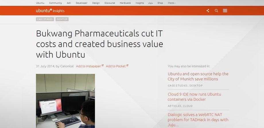 Bukwang Pharmaceuticals migra da Windows ad Ubuntu