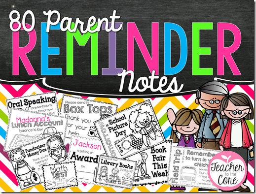 80 Parent Reminder Notes help keep you sane! No more rushing around typing notes! Simply grab, copy, and go!