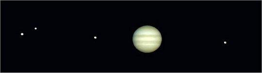 Júpiter y 4 de sus satélites