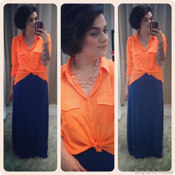 look color block saia azul oh,boy! camisa laranja neon linda de morrer