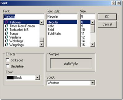 Font selector