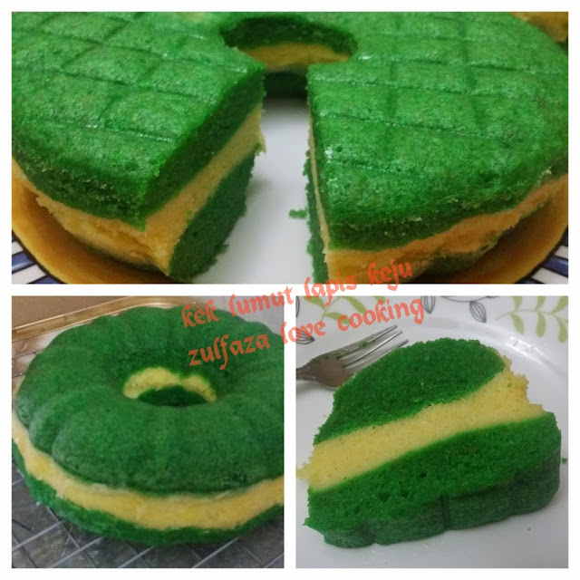 Zulfaza Loves Cooking Kek Lumut Lapis Cheese