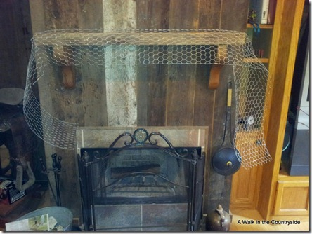 a walk in the countryside: mesh christmas mantel using chicken wire