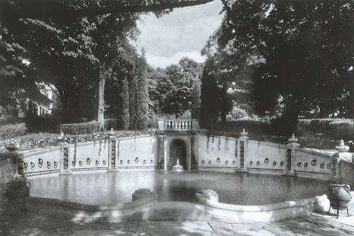 Also designed by Fletcher Steele, this swimming pool of unknown origin is bordered by beautifully detailed artistry.