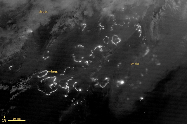 The Suomi National Polar-orbiting Partnership satellite (S-NPP) carries an instrument so sensitive to low light levels that it can detect wildfires in the middle of the night. On 3 August 2012, the Visible Infrared Imaging Radiometer Suite (VIIRS) on Suomi-NPP acquired the top image of wildfires blazing in eastern Siberia. The image is from the instrument's 'day-night band,' which sensed the fire in the visible portion of the spectrum. The brightest fires are white; smoke is light gray. earthobservatory.nasa.gov