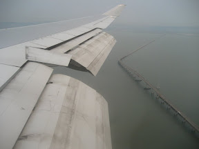 Final approach. Just past the San Mateo bridge.