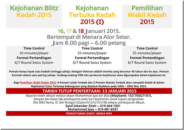 Festival Catur Kedah 2015 flyer NRE-3a