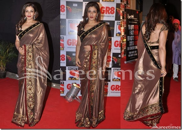 Raveena_Tandon_Tan_Silk_Saree