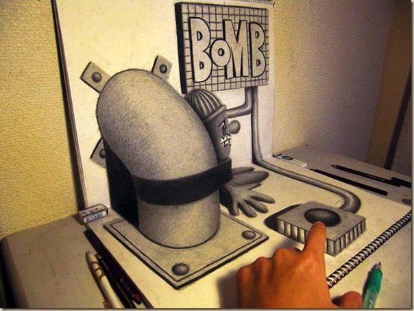 Incroyables dessins au crayon en 3D par Nagai Hideyuki-014