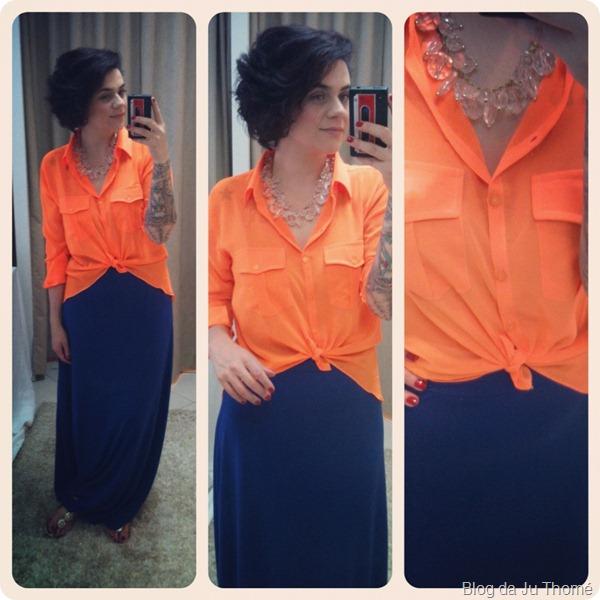 look color block camisa laranja neon com saia azul bic