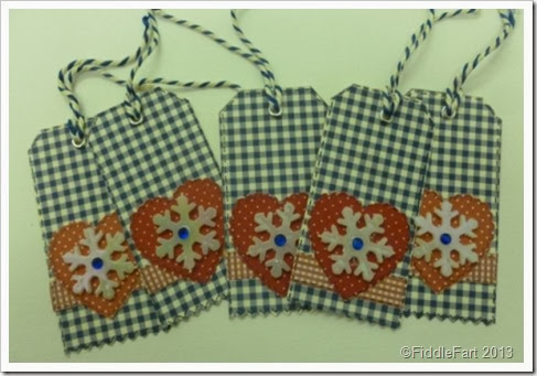 Blue Gingham Christmas Gift Tags