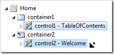Dropping control1 on the right side of control2 in the Project Explorer.