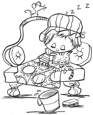 desenhos-colorir-menina-gato