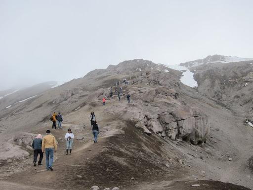 A steady stream of climbers heading to the top on Nevado del Ruiz