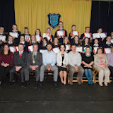 Third year students who received awards at the Mulroy College prize giving on Thursday night last with seated from left Odelle Callaghan, Nicola McBride, Martin Davis, Parmerica, Ian McGarvey, Donegal Mayor, Jason Black, guest Speaker, Fiona Temple,Principal, Eileen McGettigan, Caoimhe Beagley, Tony McCarry, Parents Committtee, Scatha Farrell, BOM, Catherine McHugh, Deputy Principal and Declan Doherty. Photo Clive Wasson.