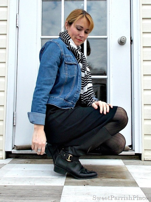 black dress, black boots, striped scarf, denim jacket2
