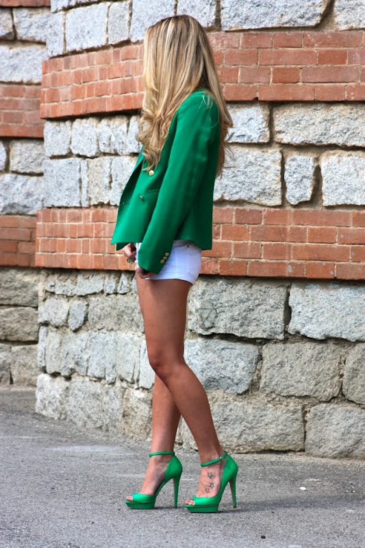 Green jacket, bershka shoes