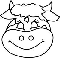 Mscara de vaca para imprimir para colorear o color