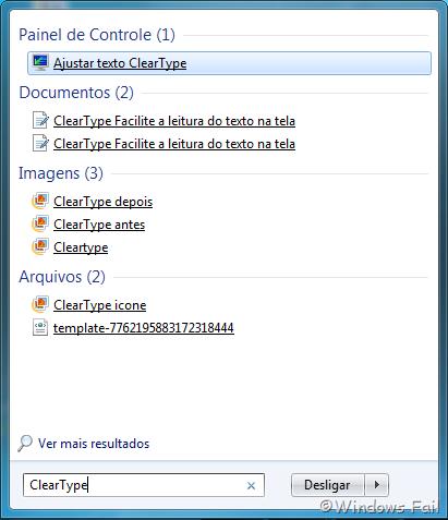 """Para acessar o ClearType, basta digitar """"ClearType"""" no menu Iniciar. Depois, basta clicar em Ajustar texto ClearType"""