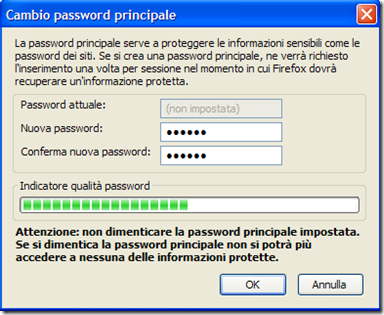 Firefox Cambio password principale