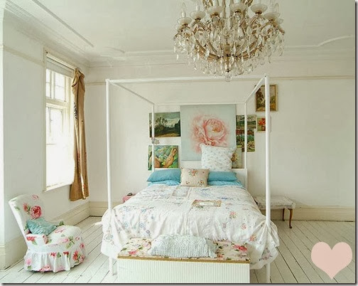 shabby chic bedroom white roses