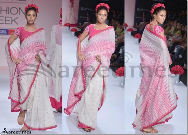 Soumitra_Mandal_Pink_Printed_Saree
