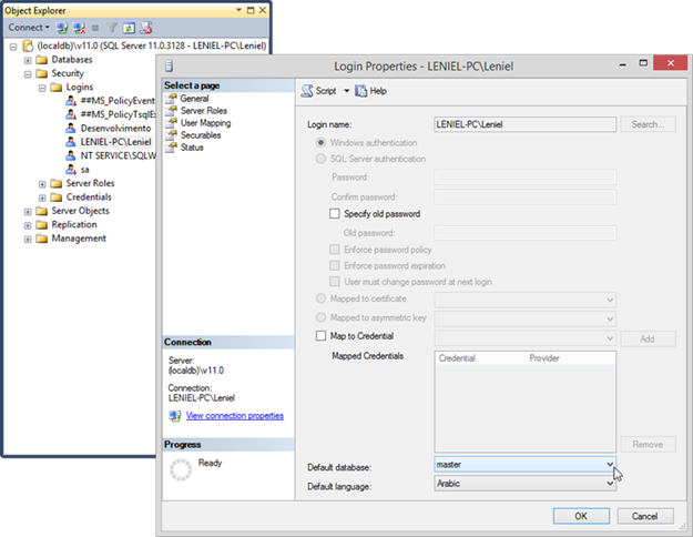 SSMS | Setting Default database for user