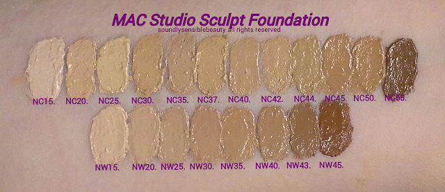 MAC Studio Sculpt Foundation; Review & Swatches of Shades NC15, NC20, NC25, NC30, NC35, NC37, NC40, NC42, NC44, NC45, NC50, NC55, NW15, NW20, NW25, NW30, NW35, NW40, NW43, NW45