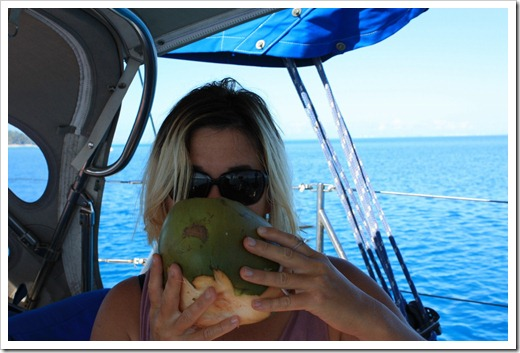 Livia drinking coconut water