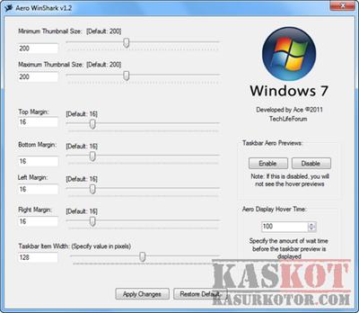 Mengubah Ukuran Windows 7 Taskbar Thumbnail - Aero WinShark