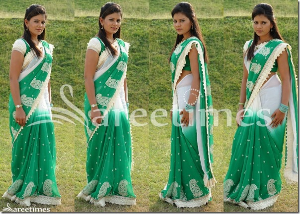 Siri_White_Green_Dual_Color_Saree