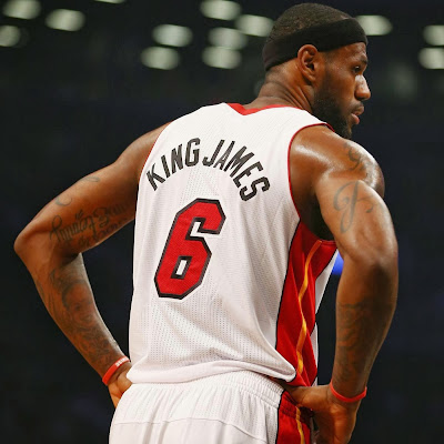 lebron james nba 140110 mia at bkn 10 King James Fouls out in Nickname Game. Wears Soldier 7 All Red PE.
