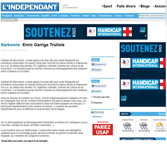 Enric Garriga Trullols L'Indépendant
