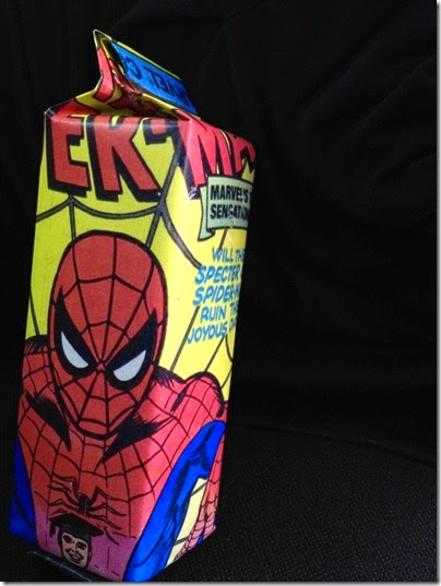 simple gift wrapping idea - Spider-man milk carton