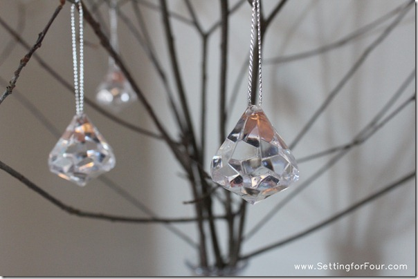 DIY Sparkly Branch Centerpiece with 'crystal' drops from Setting for Four #centerpiece #branch #crystal #diy #decor