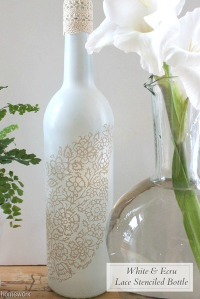 White & Ecru Lace Stenciled Bottle via homework (5)B