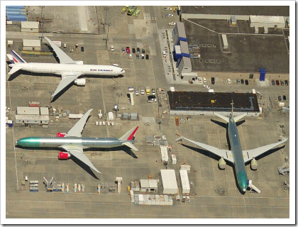 Planes outside the Boeing Factory - Everett