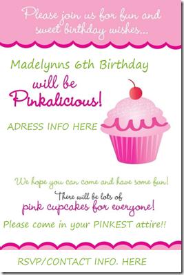 pink cupcake invite