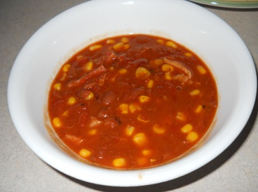 Spicy Corn, Bean and Ham Soup - served II
