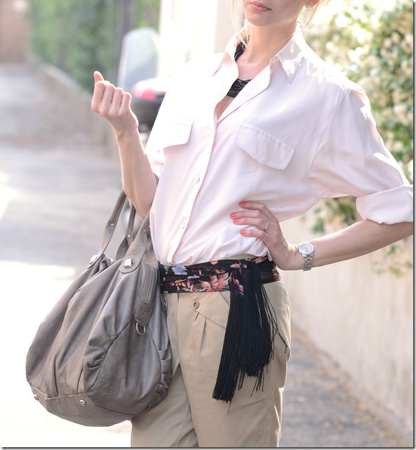 nude colors, chino pants, pantaloni beige, trousers beige, asos, camicione, paravidino, kiko make up