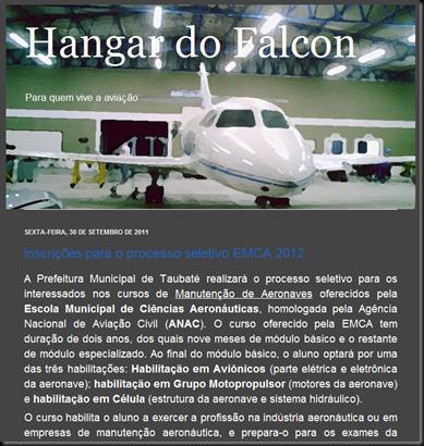 """""""Hangar do Falcon"""", """"Para quem vive a aviação"""""""