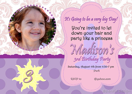 Tangled party invite