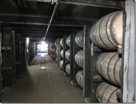 Aging bourbon in oak barrels