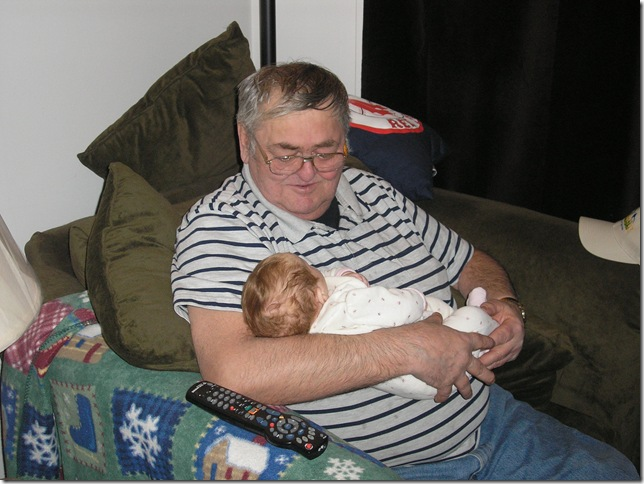 Kaitlyn (2 months old) and Wayne (Grampy Dickinson)