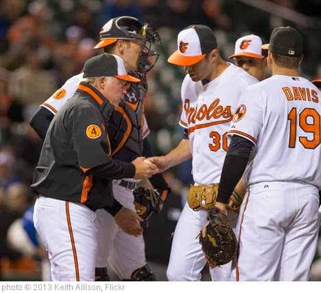 'Buck Showalter, Chris Tillman' photo (c) 2013, Keith Allison - license: https://creativecommons.org/licenses/by-sa/2.0/