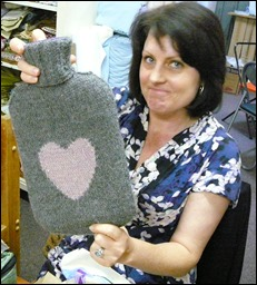 Completed hot water bottle cover by Kelly