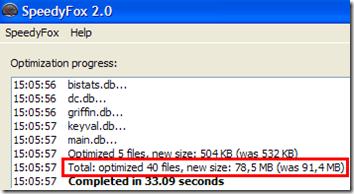 Risultato ottimizzazione programma con SpeedyFox 2